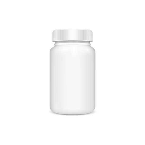 Plastic jar with the lid Plastic jar with the lid on a white background. Vector aspirin stock illustrations