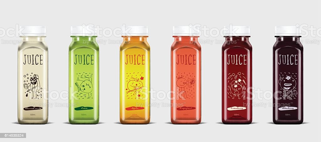 Plastic juice bottle brand concept vector art illustration