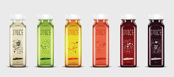stockillustraties, clipart, cartoons en iconen met plastic juice bottle brand concept - sapjes