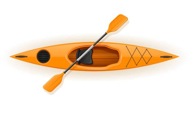 ilustraciones, imágenes clip art, dibujos animados e iconos de stock de kayak de plástico para la pesca y la ilustración vectorial de turismo - kayak