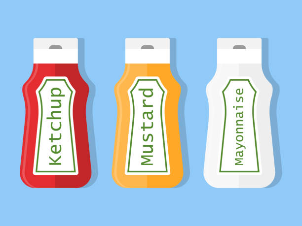Plastic Ketchup Mustard Food Squeeze Label Bottle Isolated Product. Mustard Ketchup Fast Food Squeeze Label Vector Isolated eps 10 ketchup stock illustrations