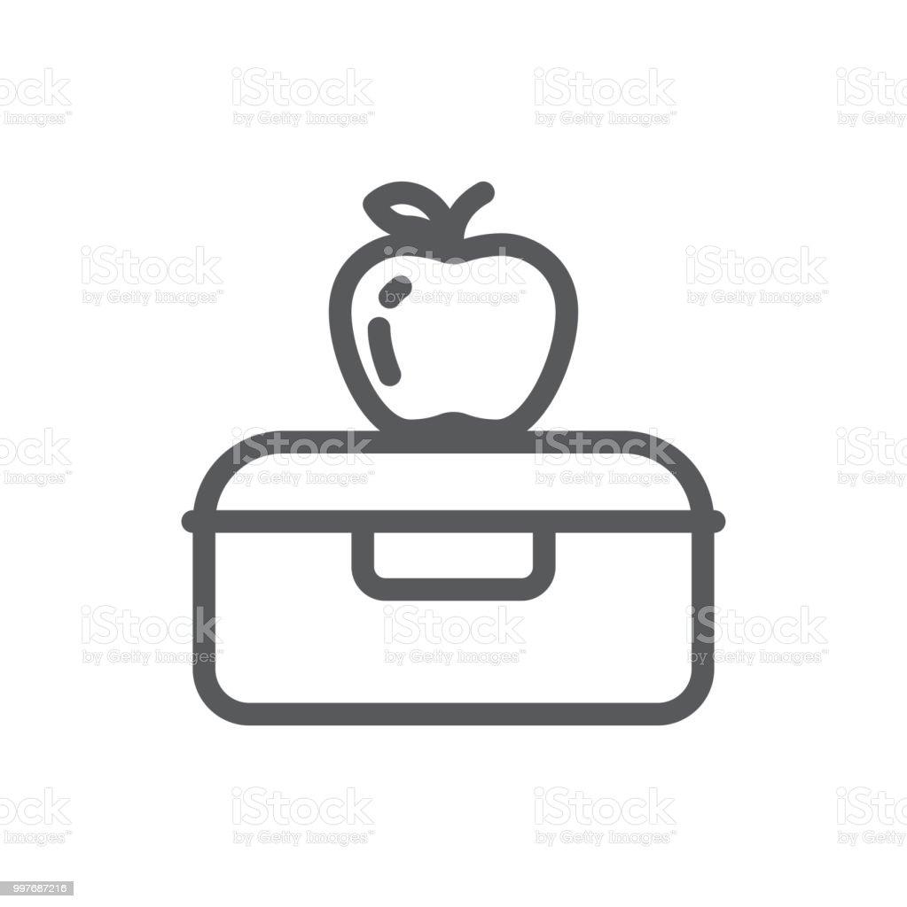 Almuerzo plástica caja con apple para la escuela o trabajo icono de línea perfecta rotura sana pixels con trazo editable. - ilustración de arte vectorial