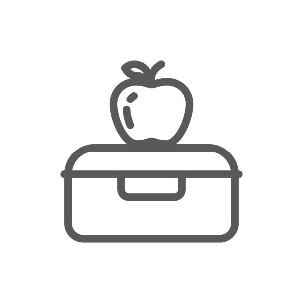 plastic lunch box with apple for school or work healthy break pixel perfect line icon with editable stroke. - lunch box stock illustrations, clip art, cartoons, & icons