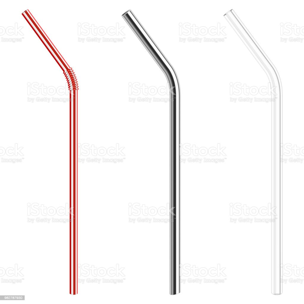 plastic, metallic, glass drinking straws vector art illustration