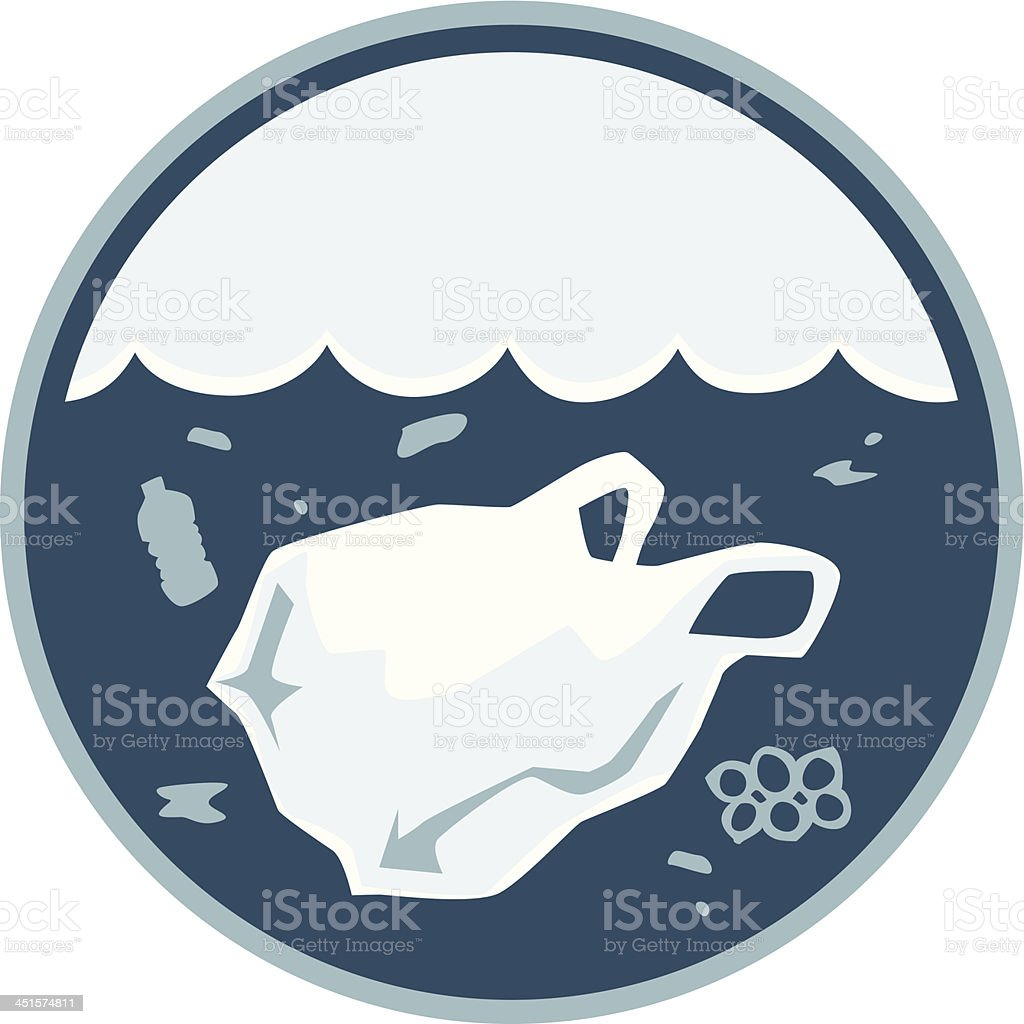 plastic ocean pollution vector art illustration