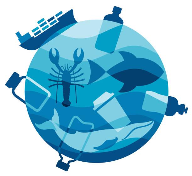 plastic ocean pollution - ущерб окружающей среде stock illustrations