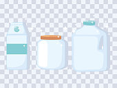 plastic or glass cups bottles mockups, different bottle jar and box containers vector illustration