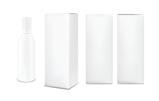 Plastic or metal white bottle with cap. Vertical paper box
