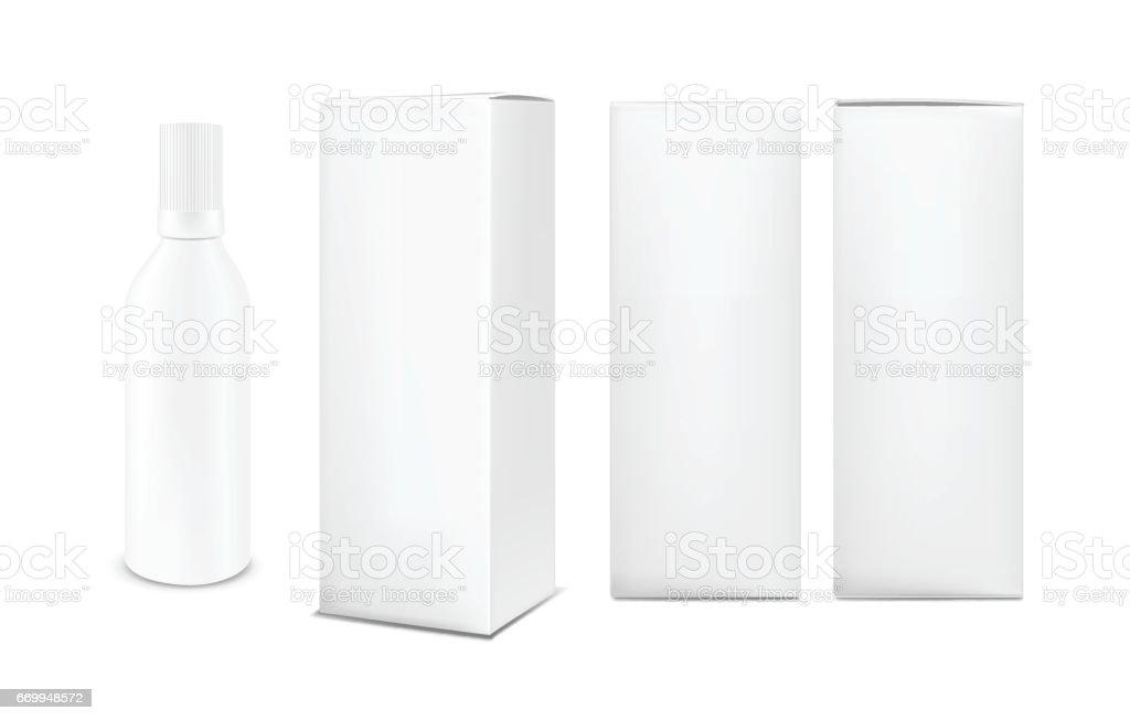 Plastic or metal white bottle with cap. Vertical paper box vector art illustration