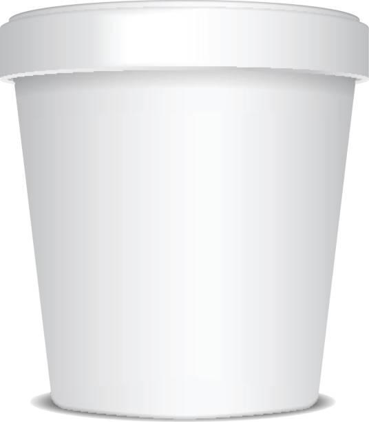 Plastic or Paper Bucket Food Tub Container For Ice Cream, Dessert, Yogurt, Sour Cream Or Snacks. Vector Mock Up Template Plastic or Paper Bucket Food Tub Container For Ice Cream, Dessert, Yogurt, Sour Cream Or Snacks. Vector Mock Up for your design container stock illustrations