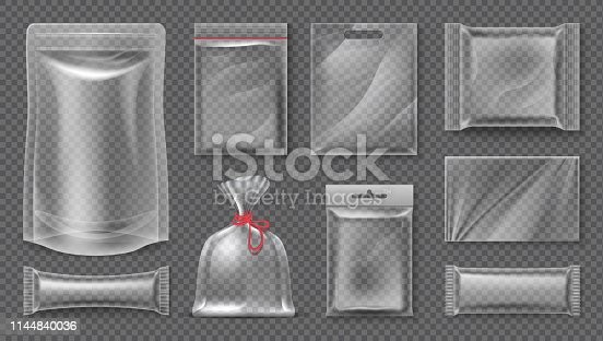 Transparent realistic pouch mockup, blank 3d food pack, empty plastic foil template. Vector empty image snack bag set