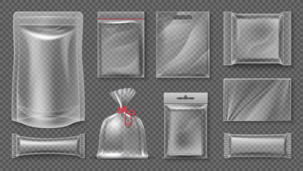 Plastic package. Transparent realistic pouch mockup, blank 3d food pack, empty plastic foil template. Vector snack bag set Transparent realistic pouch mockup, blank 3d food pack, empty plastic foil template. Vector empty image snack bag set plastic stock illustrations