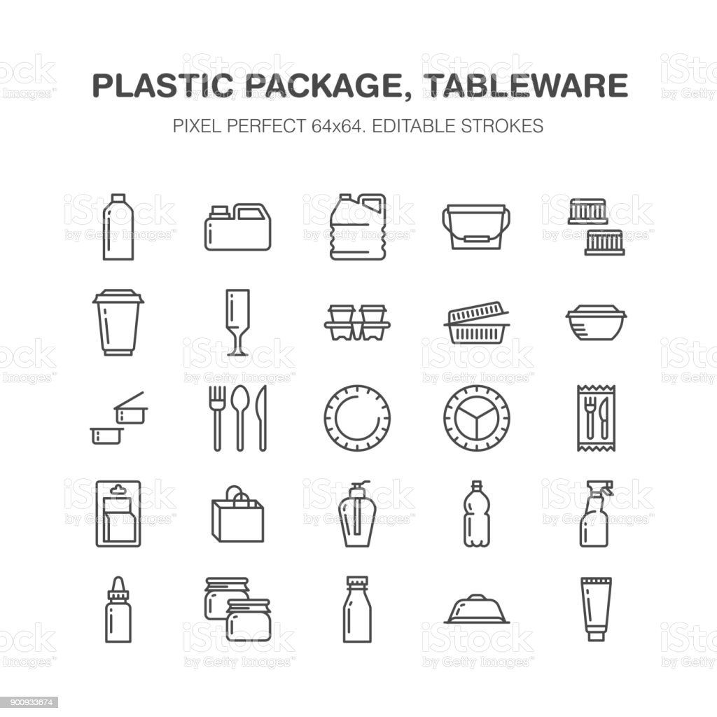 Plastic packaging, disposable tableware line icons. Product packs, container, bottle, canister, plates cutlery. Container thin signs for shop, synthetic material goods production. Pixel perfect 64x64