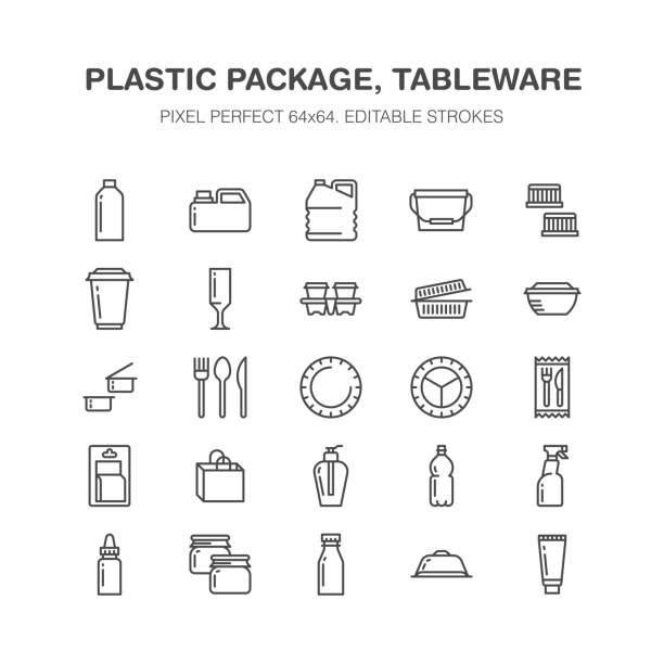 ilustrações de stock, clip art, desenhos animados e ícones de plastic packaging, disposable tableware line icons. product packs, container, bottle, canister, plates cutlery. container thin signs for shop, synthetic material goods production. pixel perfect 64x64 - packaging