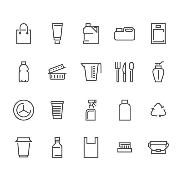 Plastic packaging, disposable tableware line icons. Product packs, container, bottle, canister, plates cutlery Container thin signs, waste recycling. Pixel perfect 48x48 Plastic packaging, disposable tableware line icons. Product packs, container, bottle, canister, plates cutlery. Container thin signs, waste recycling. Pixel perfect 48x48 container stock illustrations