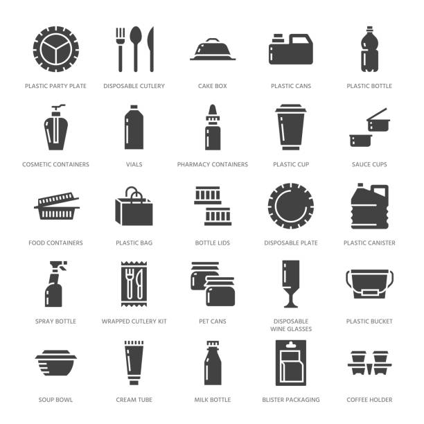 plastic packaging, disposable tableware vector glyph icons. product container silhouette, bottle, packet, canister, plate cutlery. packs filled signs, synthetic material goods. pixel perfect 64x64 - junk food stock illustrations, clip art, cartoons, & icons