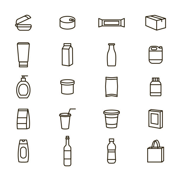 Plastic Packaging Signs Black Thin Line Icon Set. Vector Plastic Packaging Signs Black Thin Line Icon Set Include of Bottle and Container. Vector illustration of Icons packing stock illustrations
