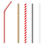 plastic, paper, bamboo, metallic and glass drinking straws
