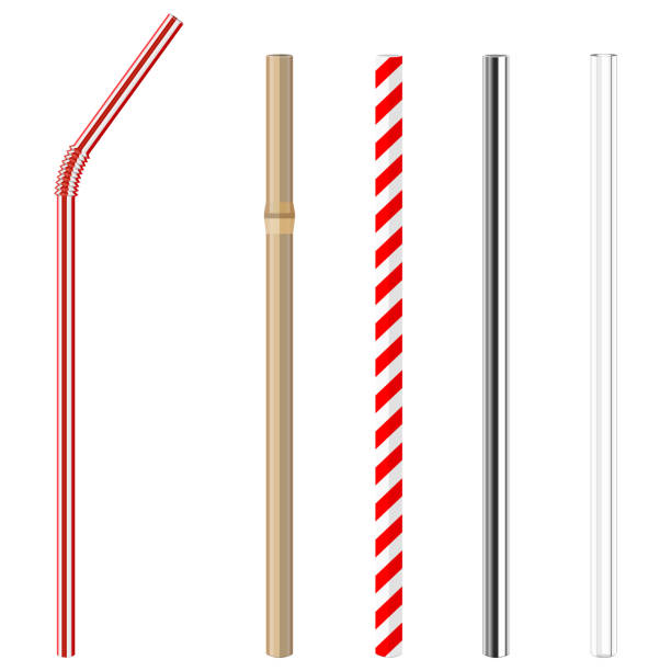 plastic, paper, bamboo, metallic and glass drinking straws modern reusable glass, steel, paper and bamboo drinking straws as alternative replacement for classic disposable plastic drinking straw, isolated objects on white background, stock vector illustration bending stock illustrations