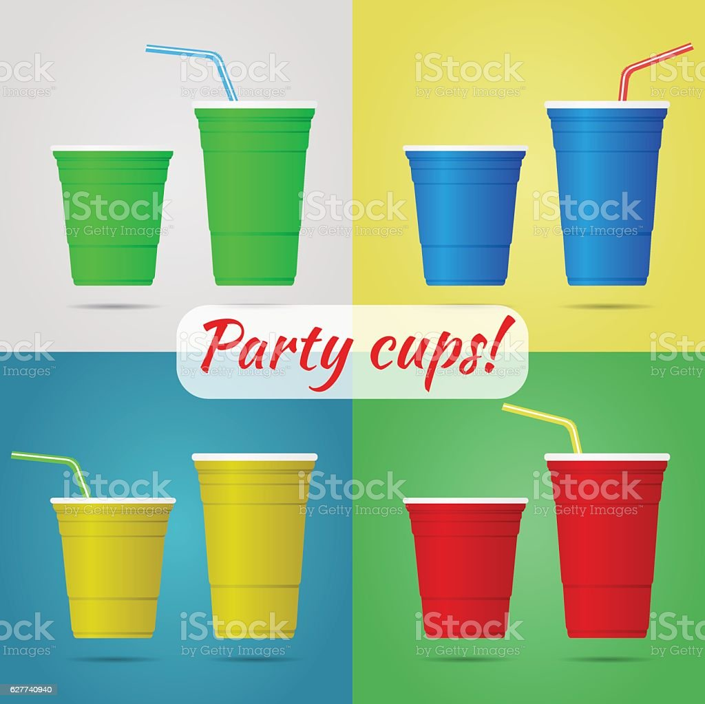 Plastic party cups vector art illustration