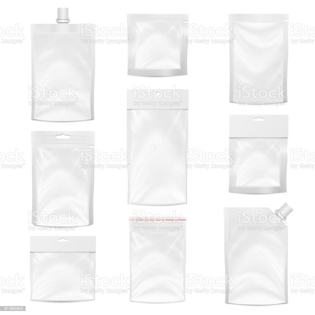 Bolso plástico Vector em branco. Design de embalagem. Simulação realista até modelo de saco do bolso de plástico branco. Slot Hang vazio. Saco de Doypack limpo branco embalagem com tampa de bico de canto. Ilustração isolada - ilustração de arte em vetor