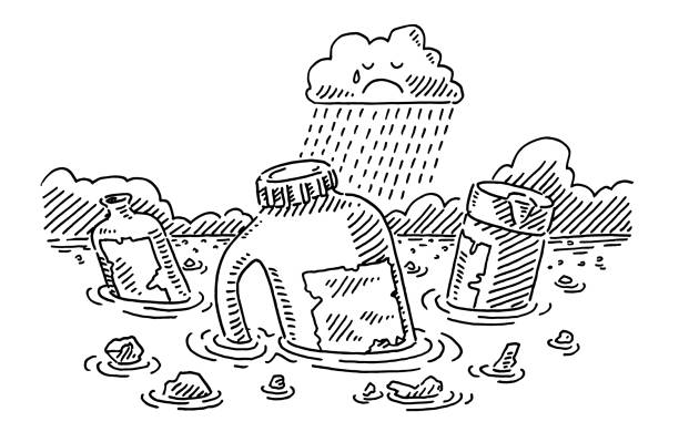 Plastic Pollution In The Ocean Sad Rain Cloud Drawing vector art illustration