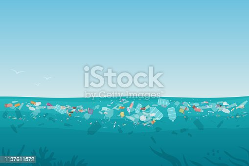 Plastic pollution trash on sea surface with different kinds of garbage - plastic bottles, bags, wastes floating in water. Sea ocean water pollution background concept vector illustration