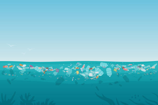 Plastic pollution trash on sea surface with different kinds of garbage - plastic bottles, bags, wastes floating in water. Sea ocean water pollution background concept vector illustration. Plastic pollution trash on sea surface with different kinds of garbage - plastic bottles, bags, wastes floating in water. Sea ocean water pollution background concept vector illustration floating on water stock illustrations