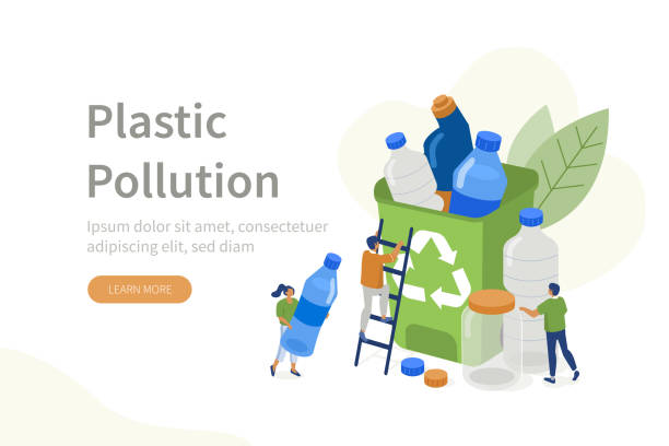 plastic pollution People Characters collecting Plastic Trash into Recycling Garbage Bin. Woman and Man taking out the Garbage. Plastic Pollution Problem Concept. Flat Isometric Vector Illustration. plastic pollution stock illustrations