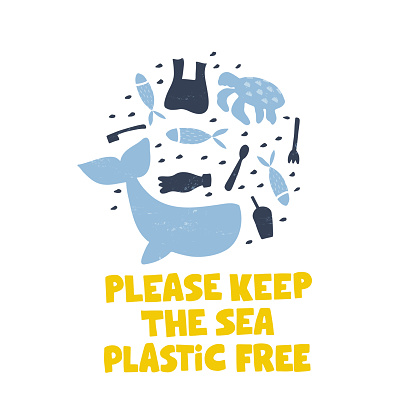 Plastic pollution word concept banner. Environmental problem isolated vector illustrations.