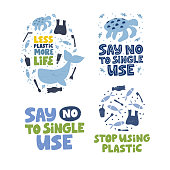 Plastic pollution word concept banners set. Ecological problem vector illustrations