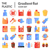 Plastic products flat icon set. Zero waste collection, sketches, logo illustrations, web symbols, gradient style pictograms package isolated on white background. Vector graphics