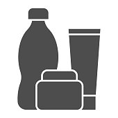 Plastic products solid icon. Cup, jar and bottle. Zero waste design concept, glyph style pictogram on white background, use for web and app. Eps 10