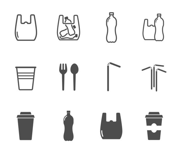 plastic products vector icon set. plastic products vector icon set. plastic bag, bottle, cup and straws outline and silhouette black icons disposable stock illustrations