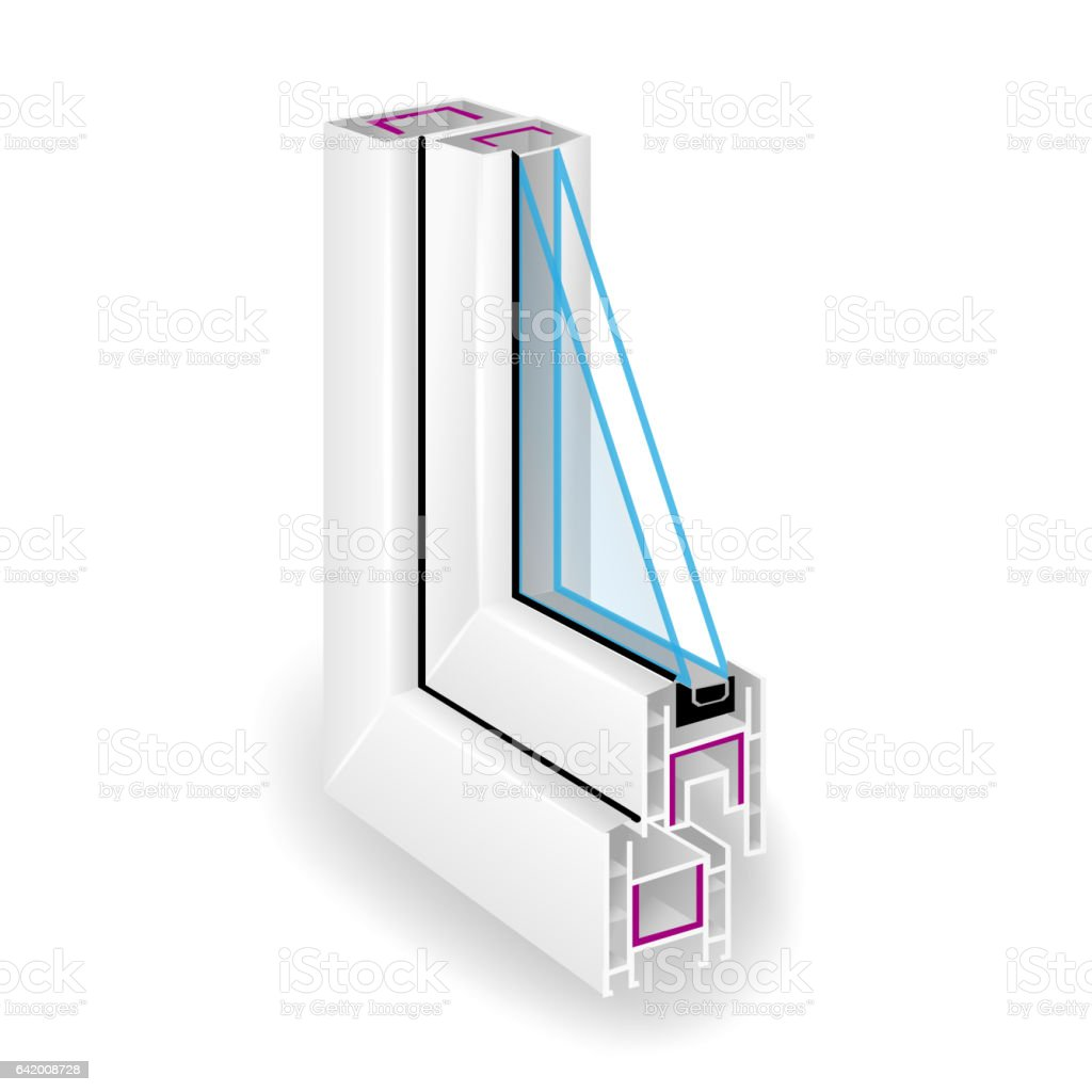 Plastic Profile Frame Window. Two Transparent Glass. Sectional View. Vector Illustration vector art illustration