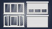 Plastic PVC Window Vector. Roller Blind. Opened And Closed. Front View. Home Window Design Element. Isolated On Transparent Background Realistic Illustration