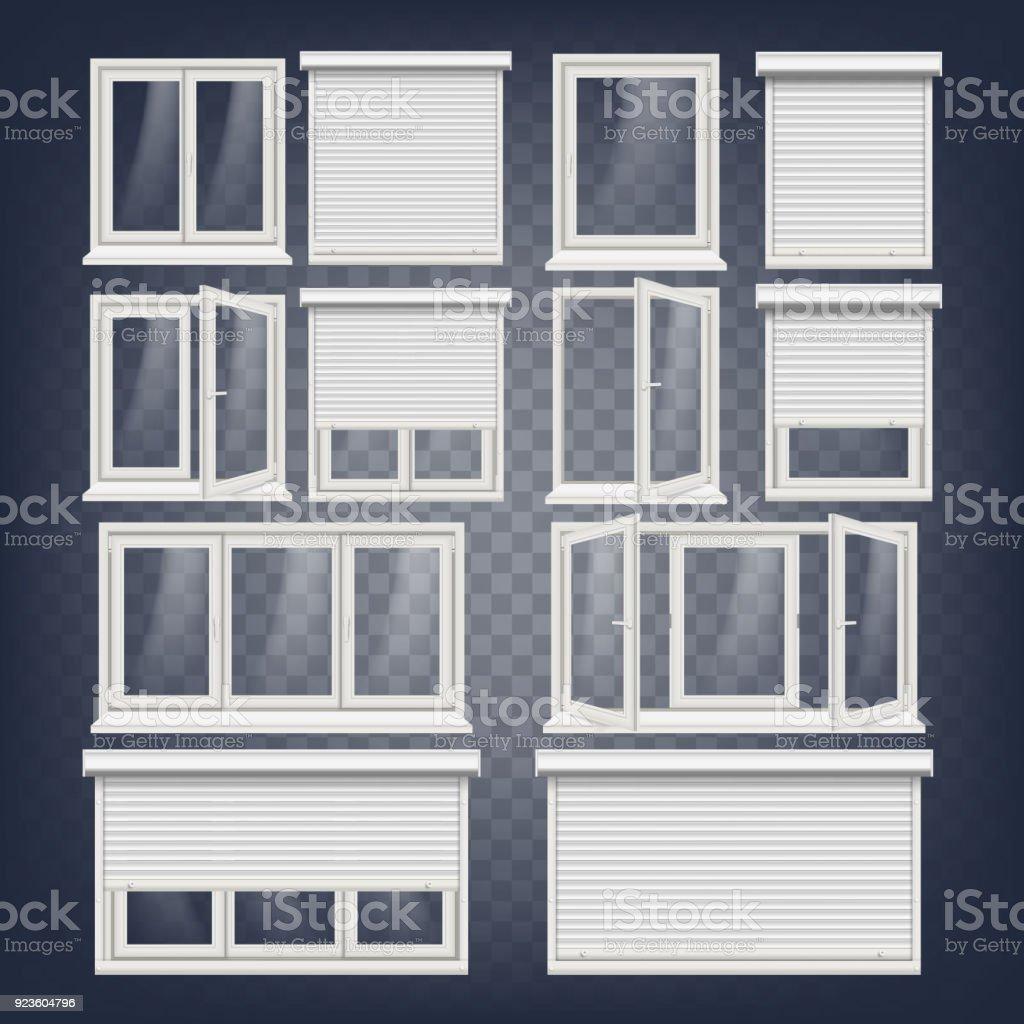 Plastic Pvc Windows Set Vector Different Types Roller Blind Opened ...