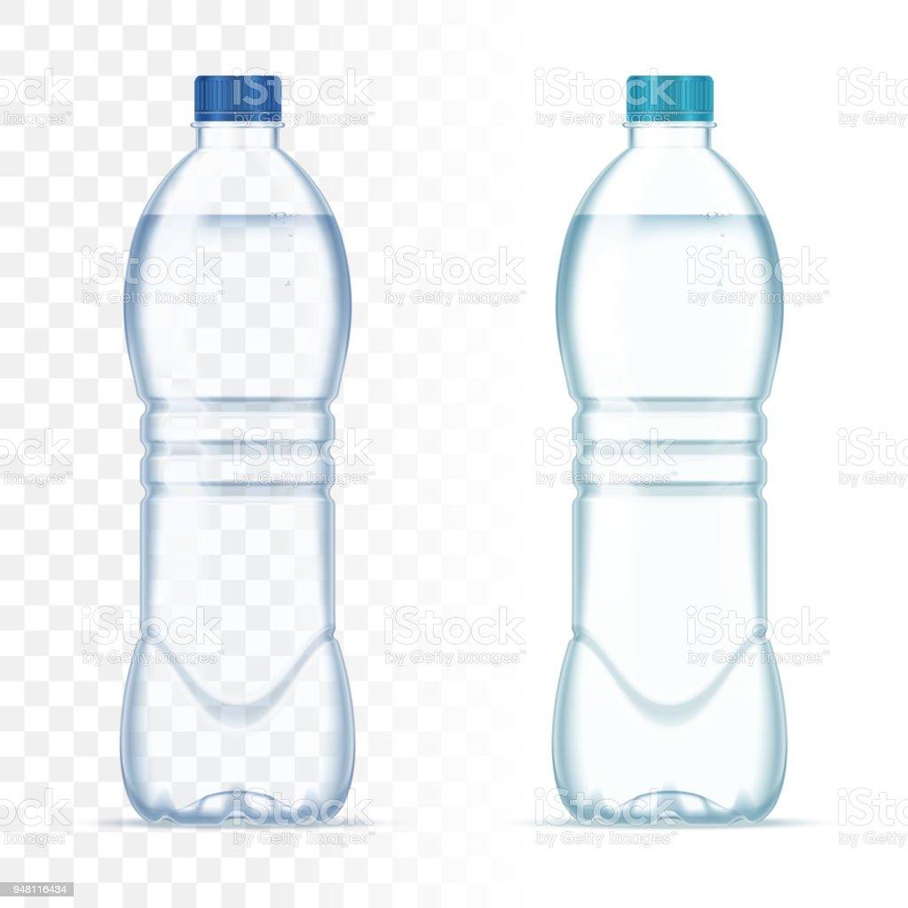 Botellas de plástico vector realista con agua y tapa azul sobre fondo transparente. Maqueta de botella realista. - ilustración de arte vectorial