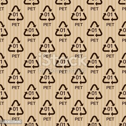 istock Plastic Recycling Shipping Label Pattern 1306039580