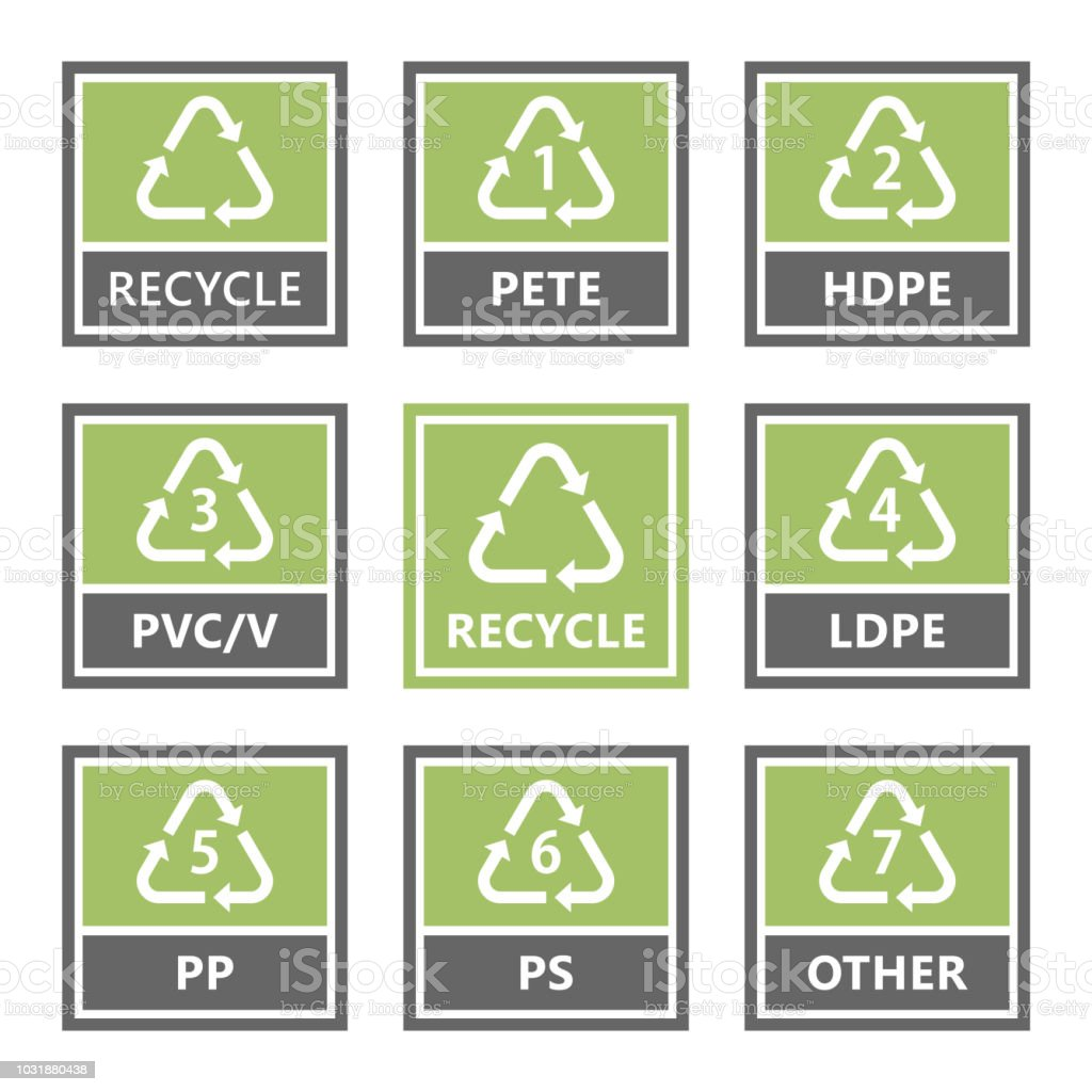 Plastic Recycling Symbols And Icons Vector Illustration Stock Vector