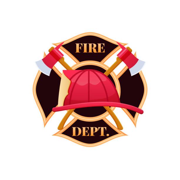 Casco de plástico rojo fuego, lucha contra el fuego. Icono de logotipo Fire dept - ilustración de arte vectorial