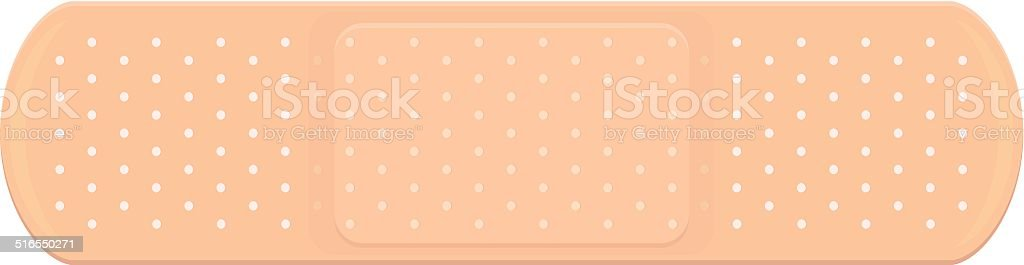 Plastic skin-colored bandage with pad. vector art illustration