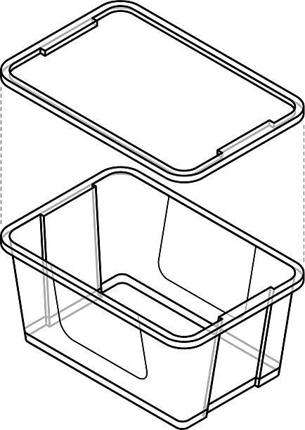 stockillustraties, clipart, cartoons en iconen met plastic storage tub - opslagruimte