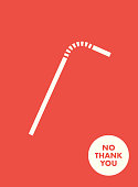 Plastic Straw Vector Icon. Stop Using Plastic Straw. Save the Earth Banner Illustration Social Motivation Campaign.