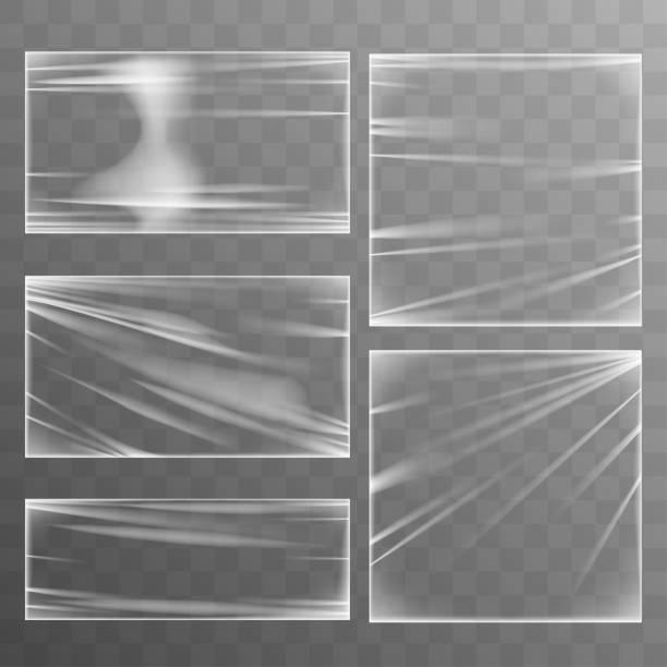 kunststoff stretch produktvorlage - plastikhülle stock-grafiken, -clipart, -cartoons und -symbole