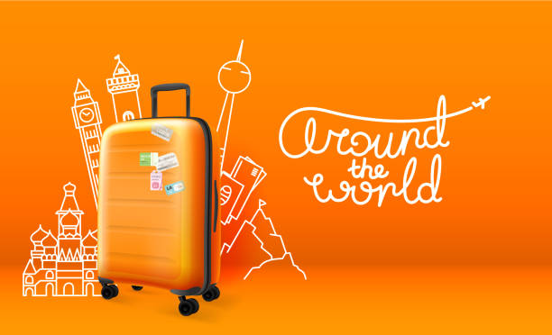 plastic suitcase with different travel stuff silhouettes - travel destinations stock illustrations