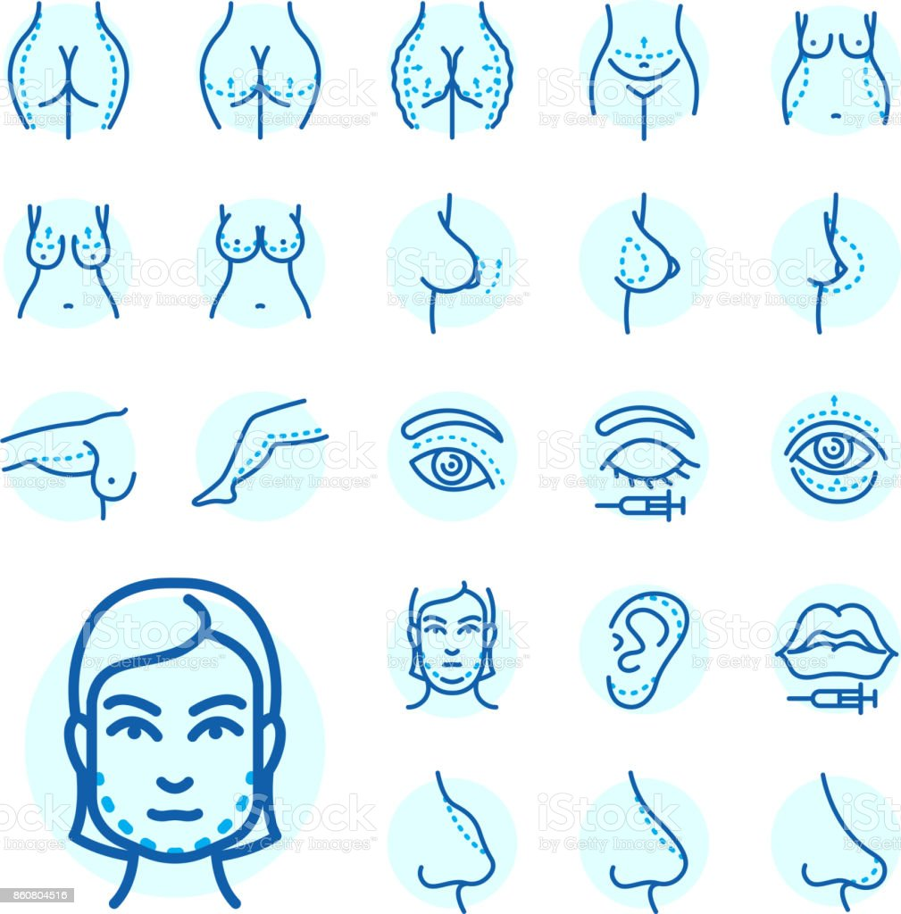Plastic Surgery Body Parts Face Correction Infographic Icons ...