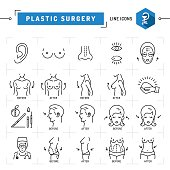 Plastic surgery concept Black thin line icons. Medical symbols and plastic surgery before and after breast augmentation, liposuction, face and body cosmetology. Vector illustration