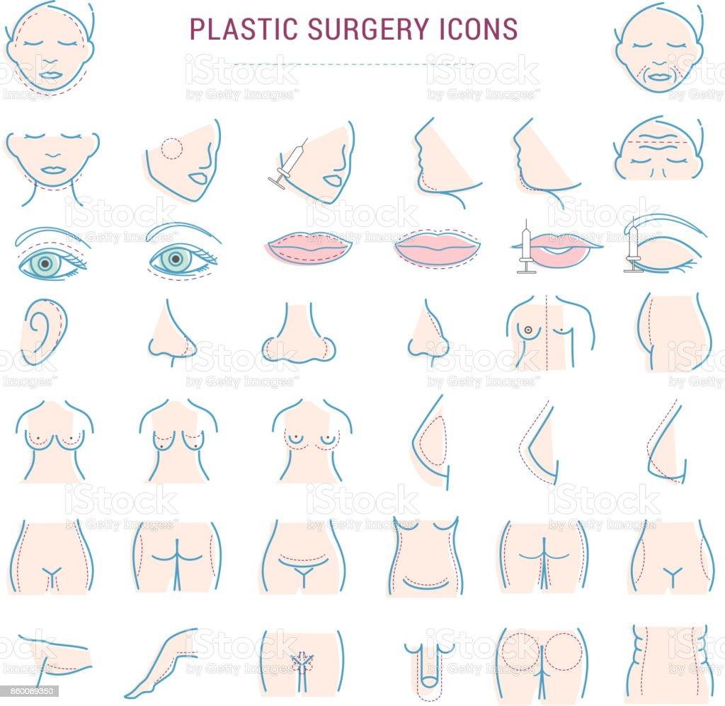 Ilustración de Cirugía Plástica Facial Corrección Infografía Iconos ...