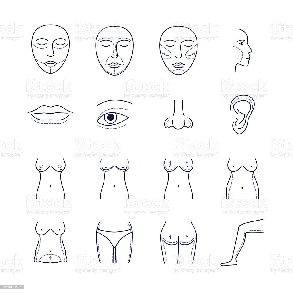Plastic Surgery Icons Thin Line Set. Vector vector art illustration